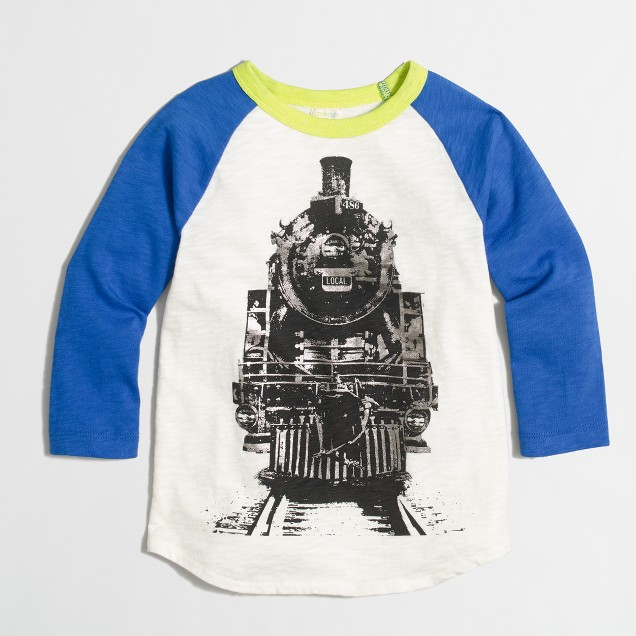 Boys' raglan-sleeve train storybook T-shirt
