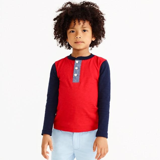 Boys' long-sleeve colorblock henley in slub-cotton