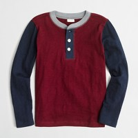 Boys' long-sleeve colorblock henley
