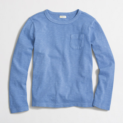Kids' long-sleeve sunwashed garment-dyed pocket T-shirt
