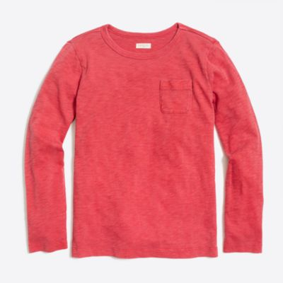 Boys' long-sleeve sunwashed garment-dye pocket tee