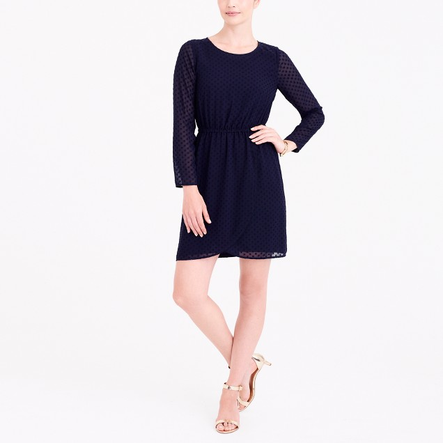Clip-dot tulip-hem dress