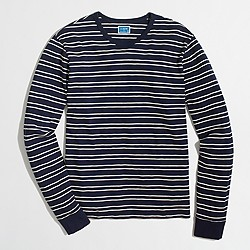 Long-sleeve slub double-striped T-shirt