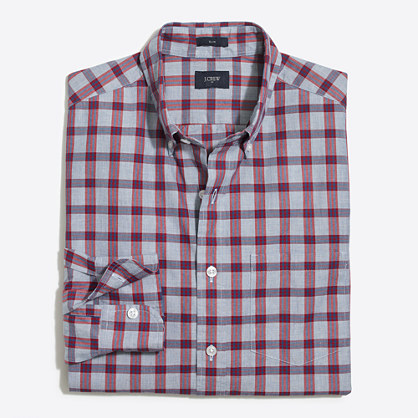 Tall plaid washed shirt in end-on-end cotton