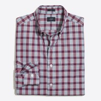Slim plaid washed shirt in end-on-end cotton