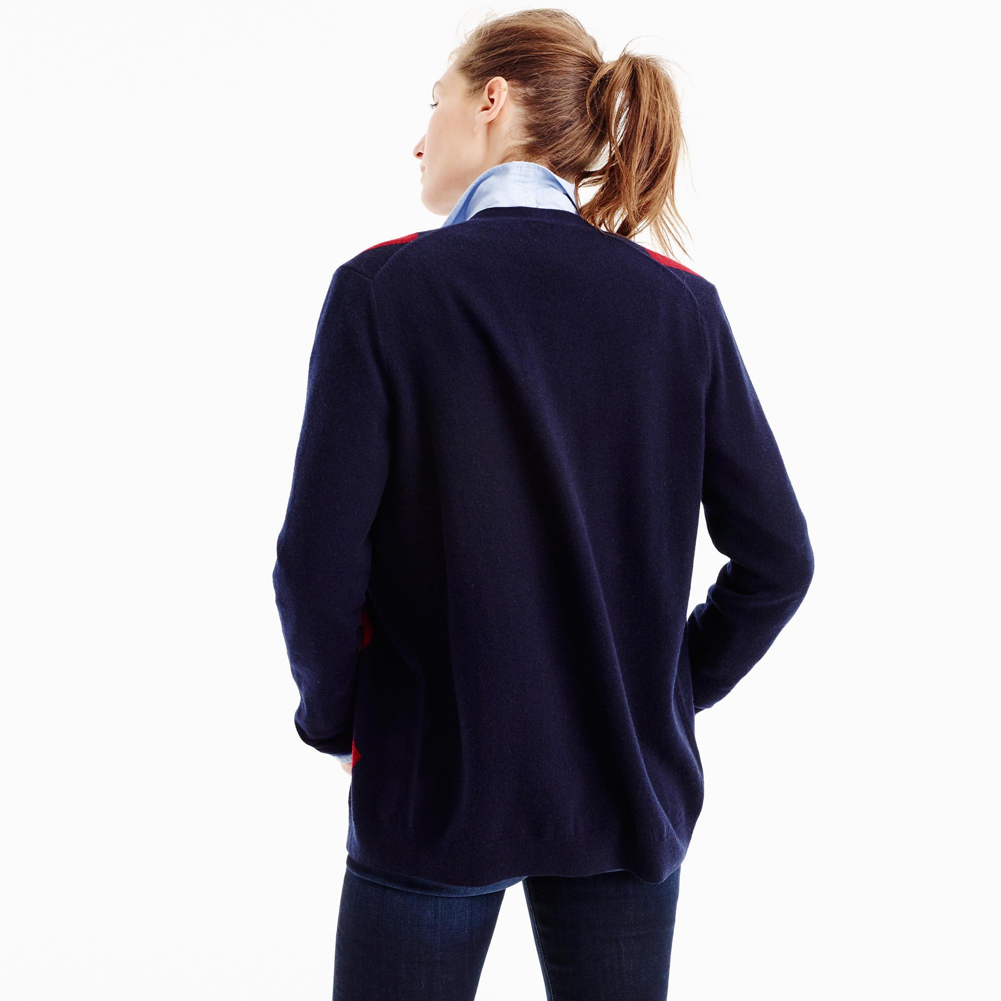 Italian Cashmere Boyfriend Cardigan Sweater In Argyle : Women's ...