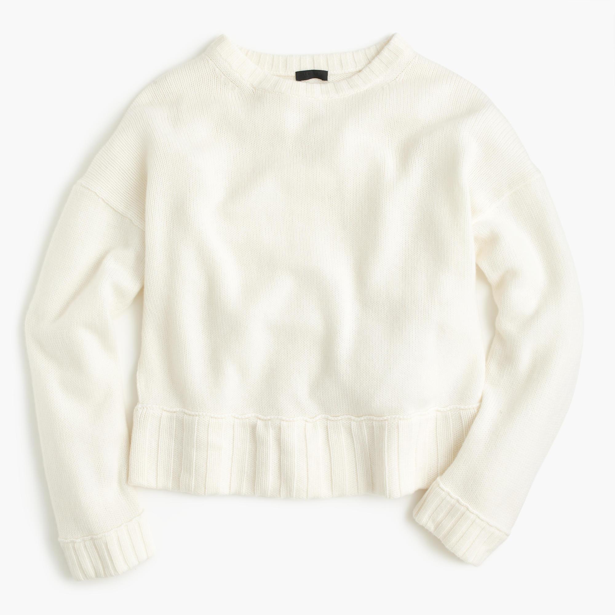 Italian Cashmere Drop-Shoulder Crewneck Sweater : Women's Cashmere ...