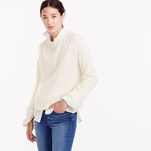Italian Cashmere Drop-Shoulder Crewneck Sweater : Women's Cashmere ...