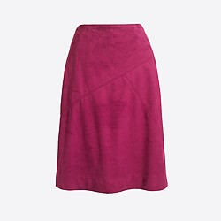 Faux-suede seamed knee-length skirt