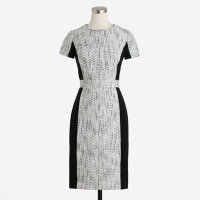 Colorblock tweed dress