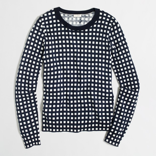 Grid print Teddie sweater