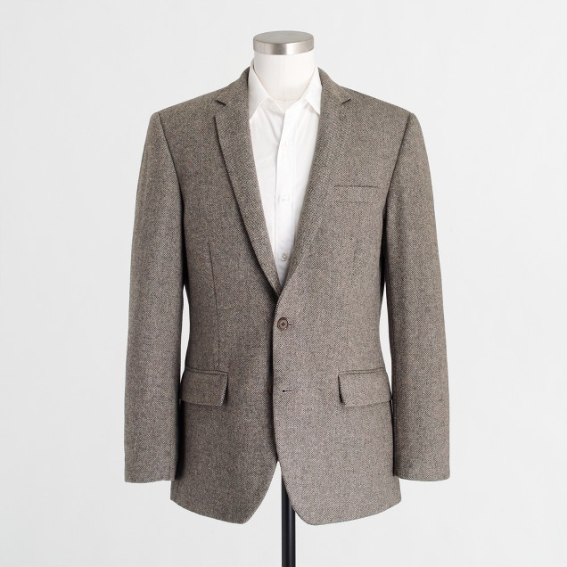 Slim suit jacket in birdseye wool
