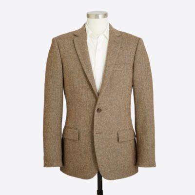 Slim suit jacket in bird's-eye tweed wool