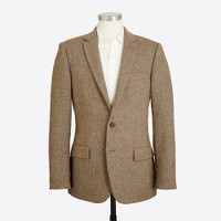 Slim suit jacket in bird's-eye tweed wool