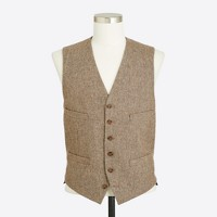 Suit vest in bird's eye tweed wool