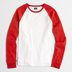 Factory long-sleeve slub baseball T-shirt