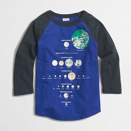 Boys' raglan-sleeve glow-in-the-dark moon chart storybook T-shirt