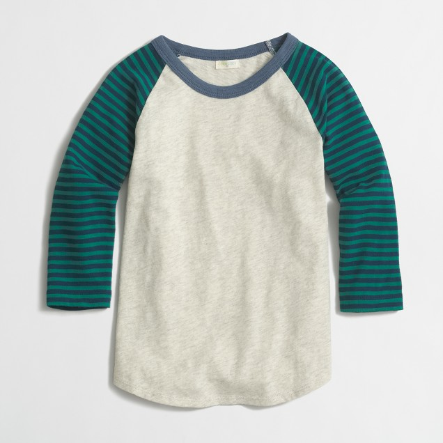 Boys' raglan colorblock baseball tee with striped sleeves