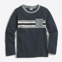 Boys' long-sleeve T-shirt with striped contrast pocket