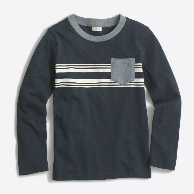 Boys' long-sleeve placed stripe T-shirt with contrast pocket