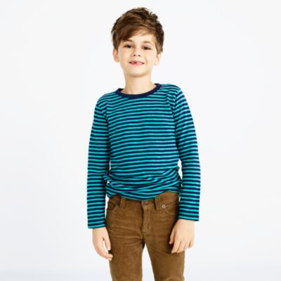 Boys' long-sleeve striped slub-cotton T-shirt