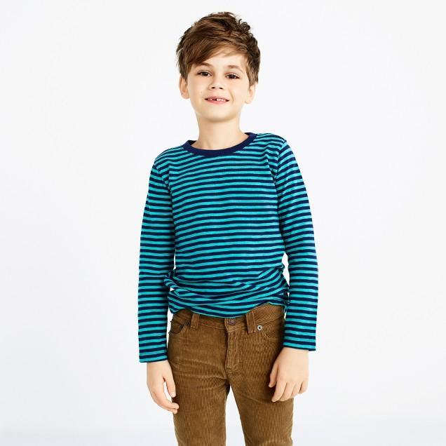 Boys' long-sleeve striped slub-cotton T-shirt
