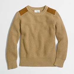 Boys' shoulder-patch crewneck sweater