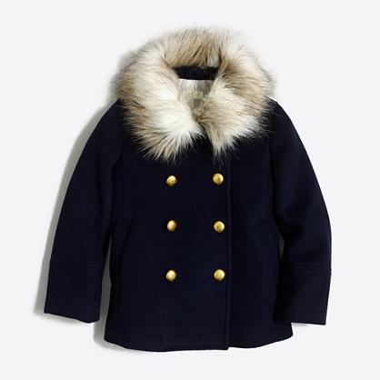 Girls' faux-fur collar peacoat