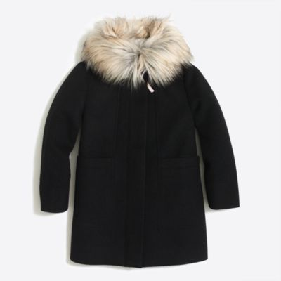 Girls' faux-fur collar coat factorygirls coats & jackets c