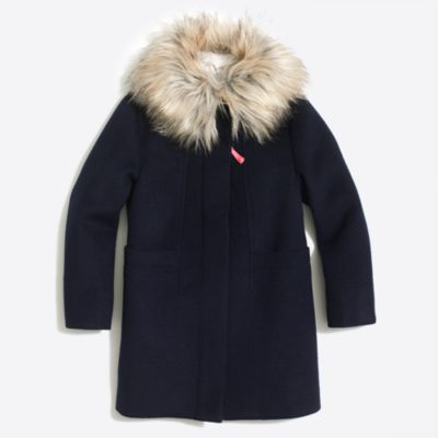 Girls' faux-fur collar coat