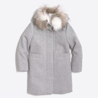 Girls' faux-fur collar coat