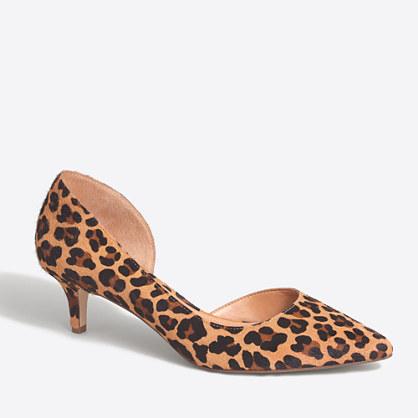 Calf hair d'Orsay kitten heels