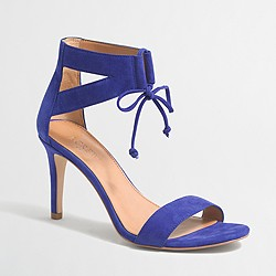 Factory suede lace-up heeled sandals