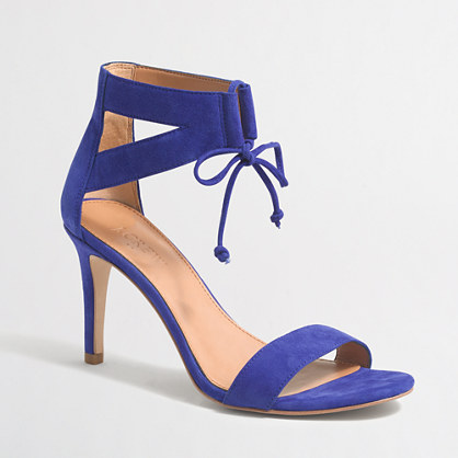 Suede lace-up heeled sandals