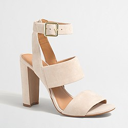 Factory suede strappy heeled sandals