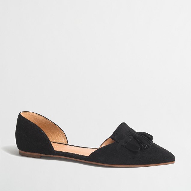 Suede d'Orsay tassel flats