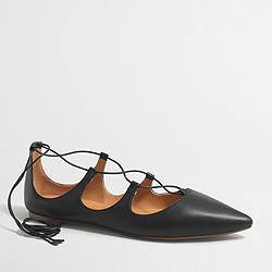 Factory leather lace-up flats