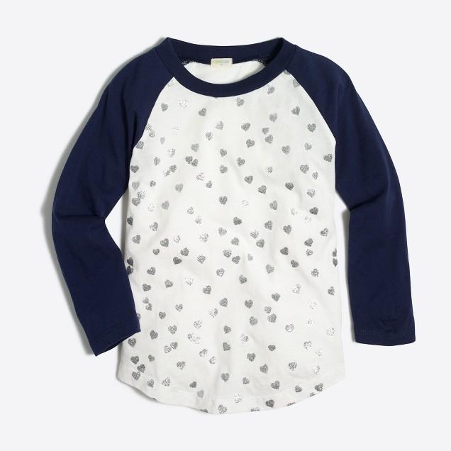 Girls' glitter hearts baseball keepsake T-shirt