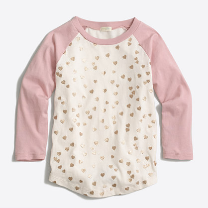 Girls' glitter hearts baseball T-shirt