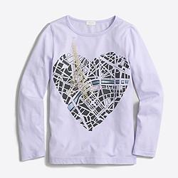 Girls' long-sleeve Paris map keepsake T-shirt