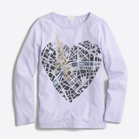 Girls' long-sleeve Paris map keepsake T-shirt
