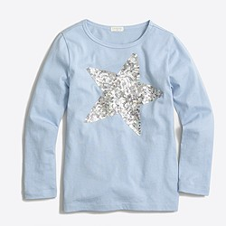 Girls' long-sleeve sequin star keepsake T-shirt