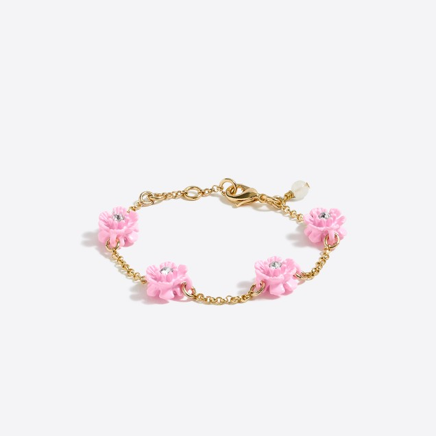 Girls' flower stone bracelet
