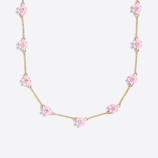 Girls' flower stone necklace