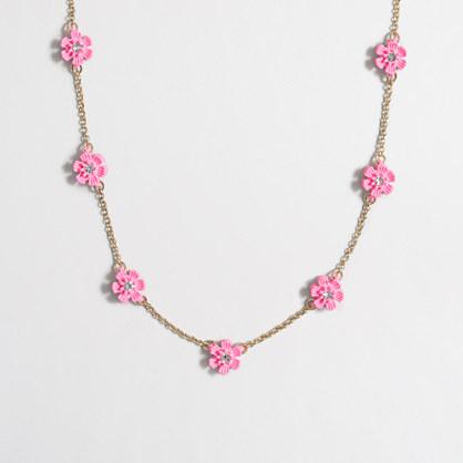 Girls' flower stone necklace