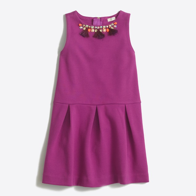 Girls' drop-waist jeweled ponté dress
