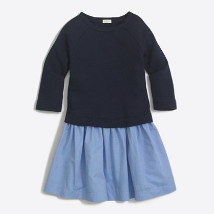 Girls' chambray sweatshirt dress