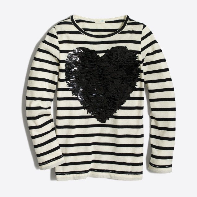 Girls' long-sleeve striped sequin heart keepsake T-shirt
