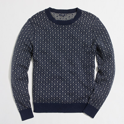 Nordic grid crewneck sweater