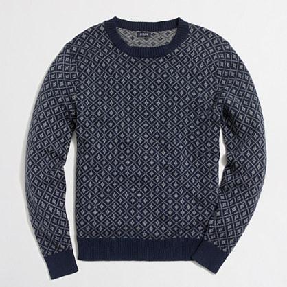Nordic grid crewneck sweater